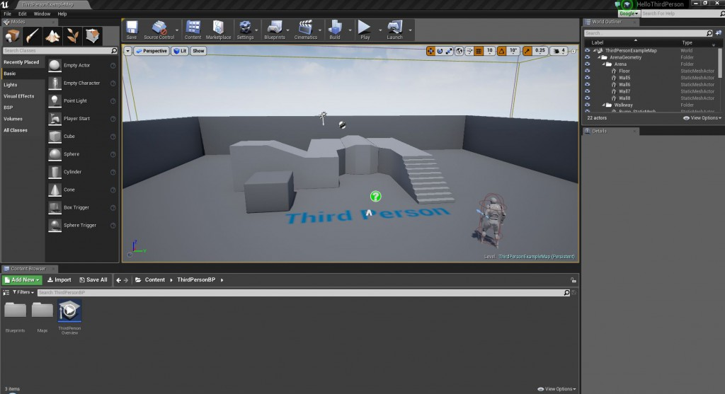 Unreal Editor 3rd Person Game Template