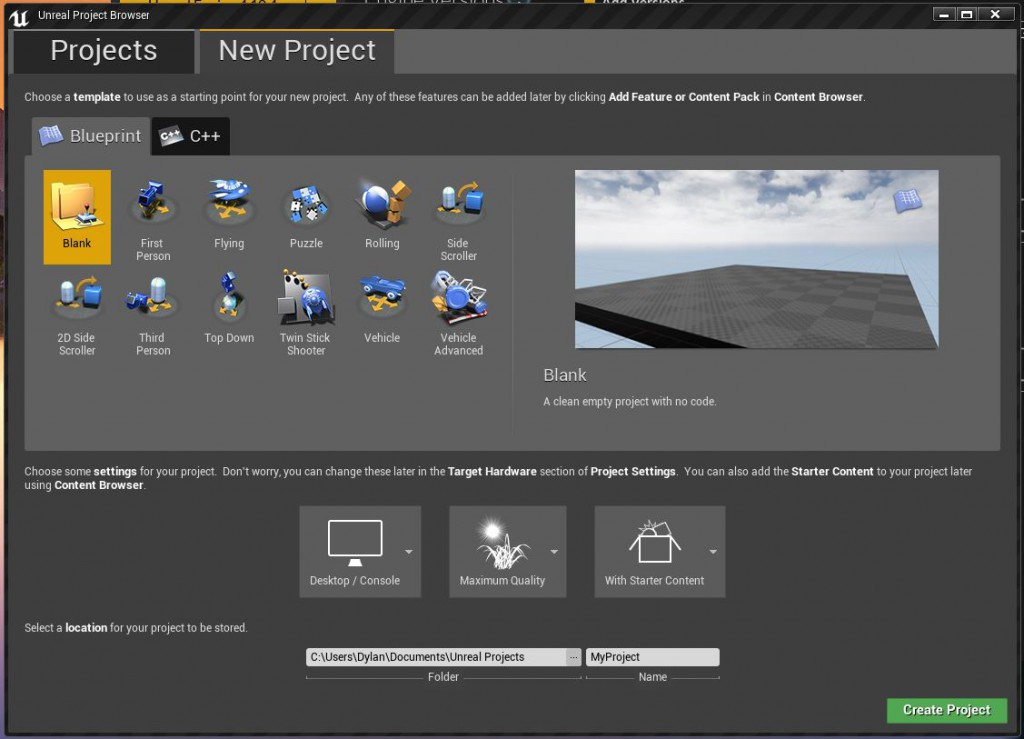 Unreal Engine Editor Project Dialog