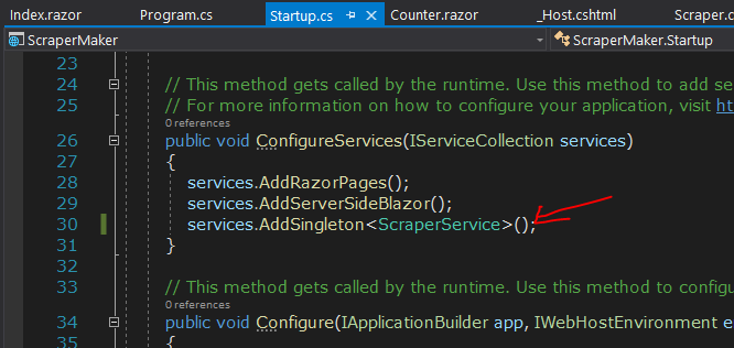 Added missing service reference to the Blazor page service in the Startup.cs file